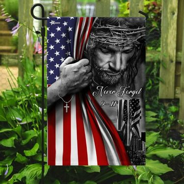 Jesus Christian never forget 9 11 full printing flag