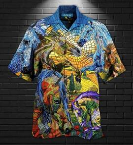 abstract horse all over printed hawaiian shirt