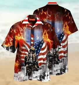 always remember firefighter all over printed hawaiian shirt