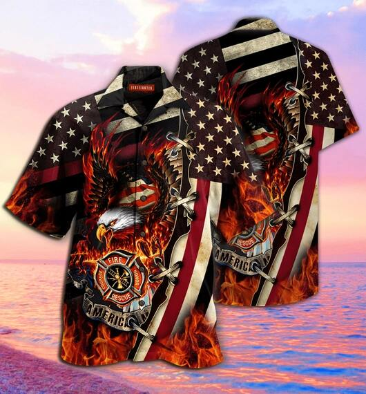 american firefighter all over printed hawaiian shirt