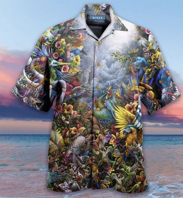 birds in the heaven all over printed hawaiian shirt