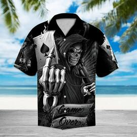 game over death skull all over printed hawaiian shirt