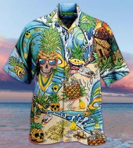 skull pineapple all over printed hawaiian shirt