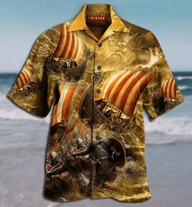 viking warrior all over printed hawaiian shirt