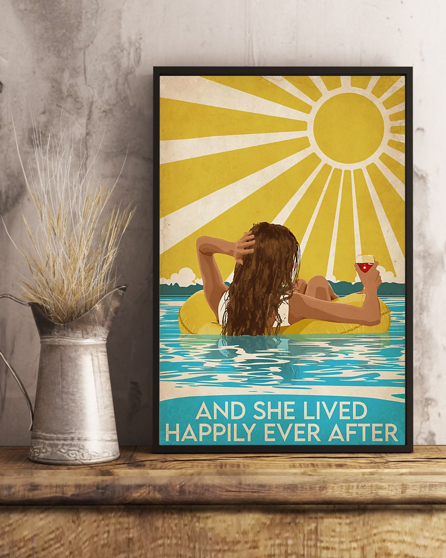 NEW Swimming Brunette And She Lived Happily Ever After  Poster