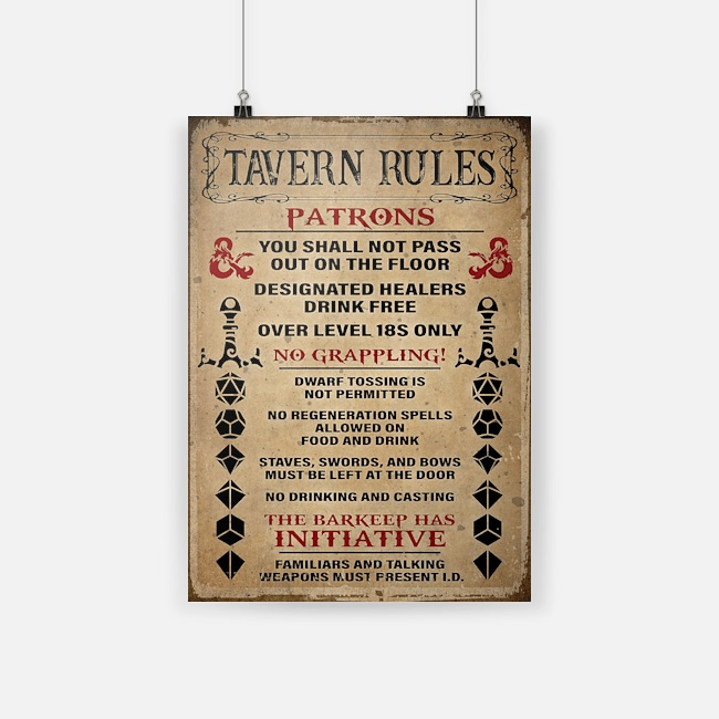 Game tavern rules patrons poster
