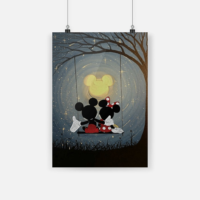 Mickey and minnie the moon poster
