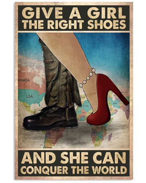 Pilot Give a girl the right shoes and she can conquer the world poster