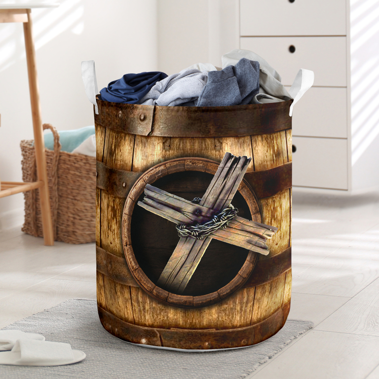 Hot wood cross blessed all over printed laundry basket