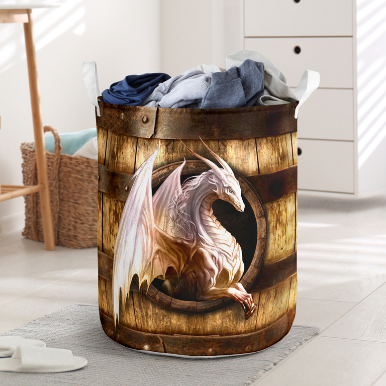Hot wood dragon all over printed laundry basket