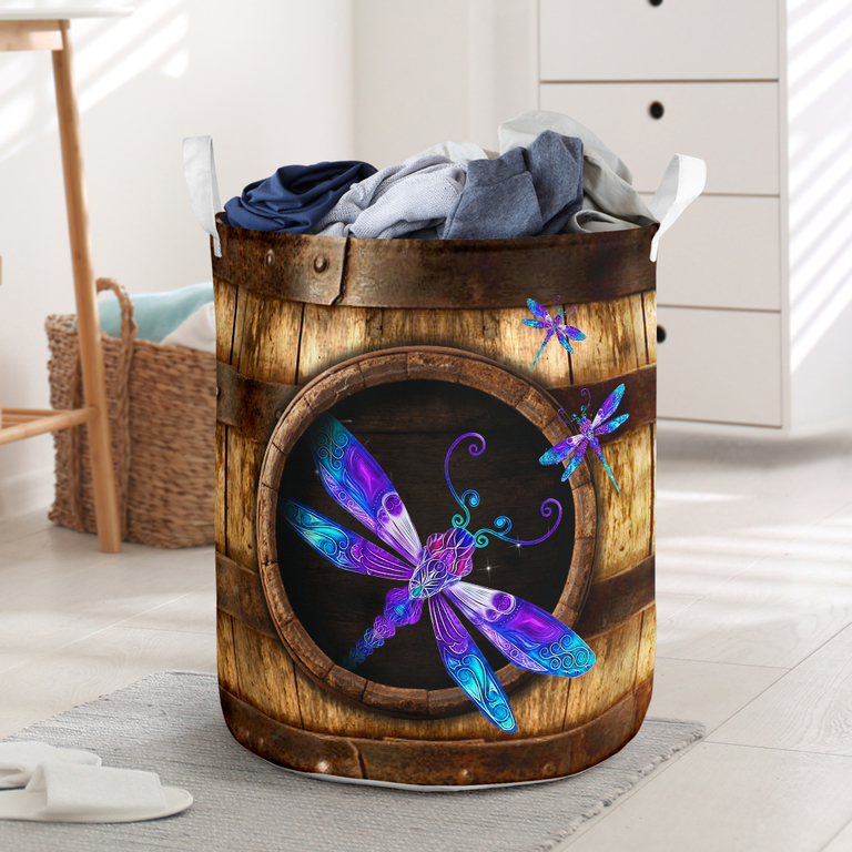 Hot wood dragonfly all over printed laundry basket