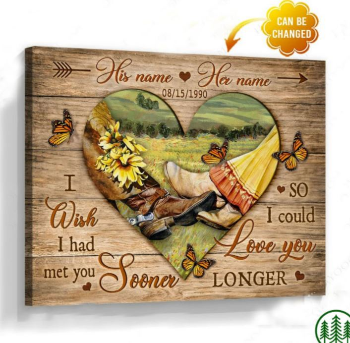 Custom Coupes Name And Date I Wish I Had Met You Sooner canvas