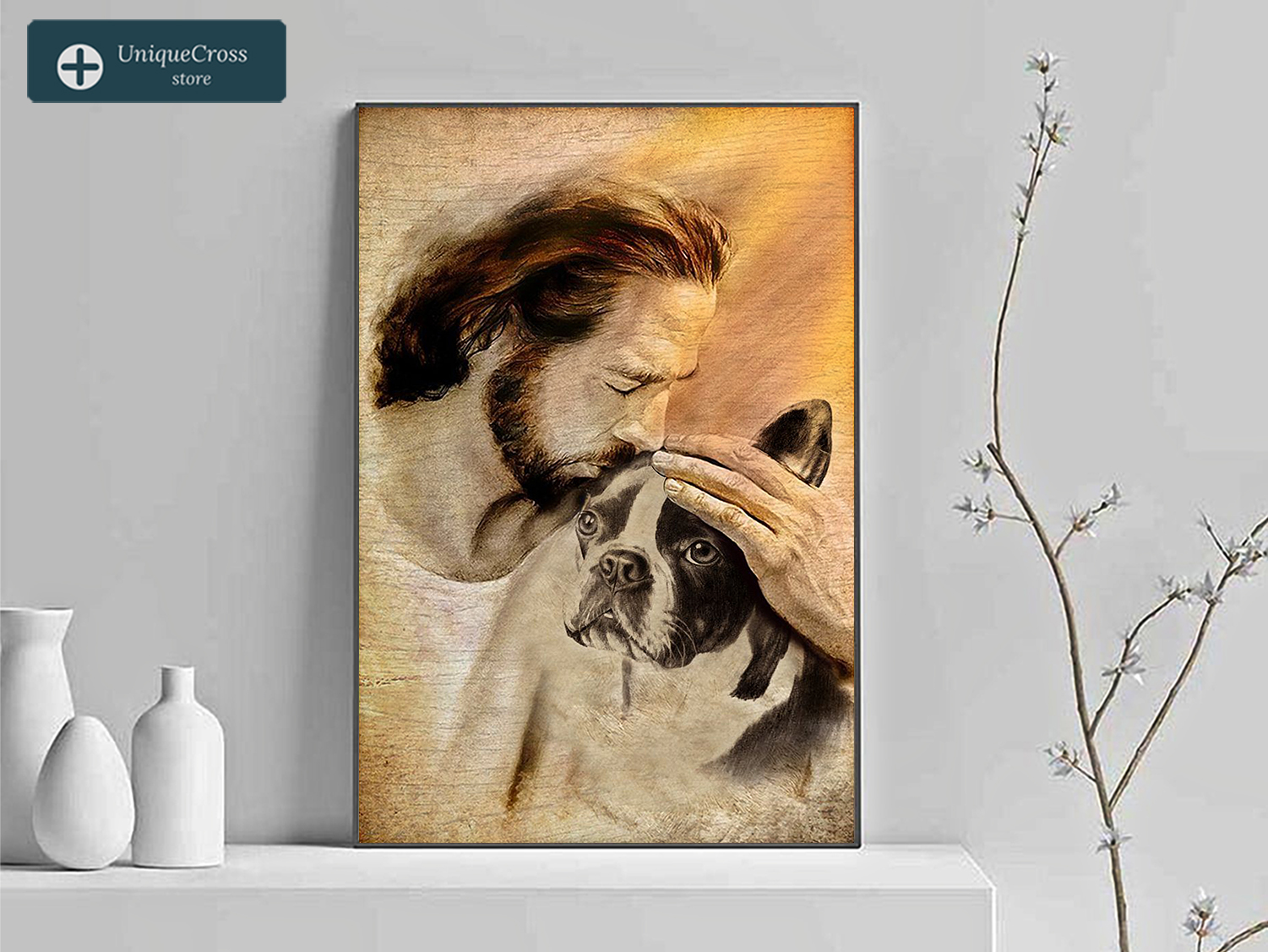 Jesus with lovely boston terrier poster