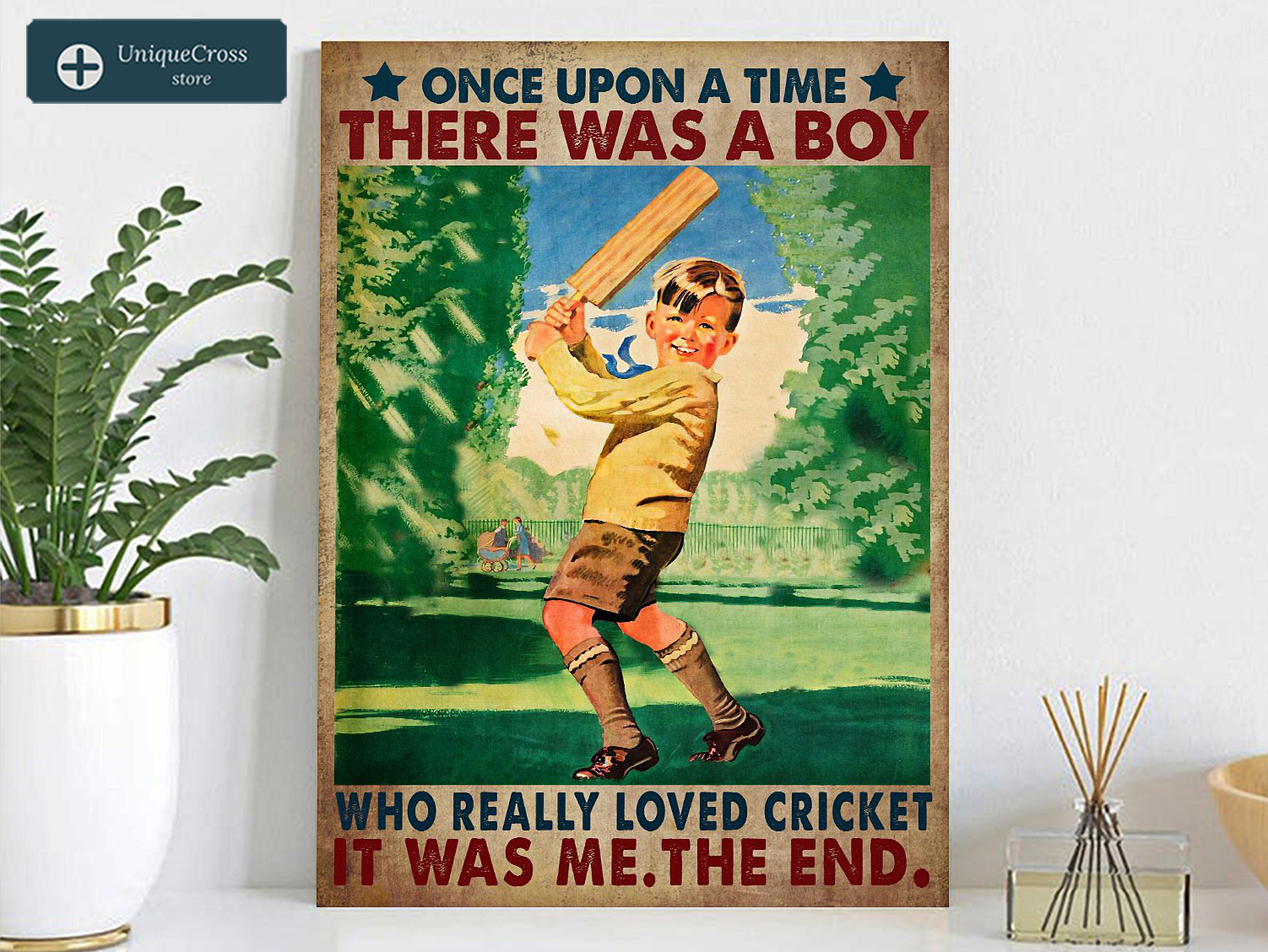 Once upon a time there was a boy who really loved cricket poster