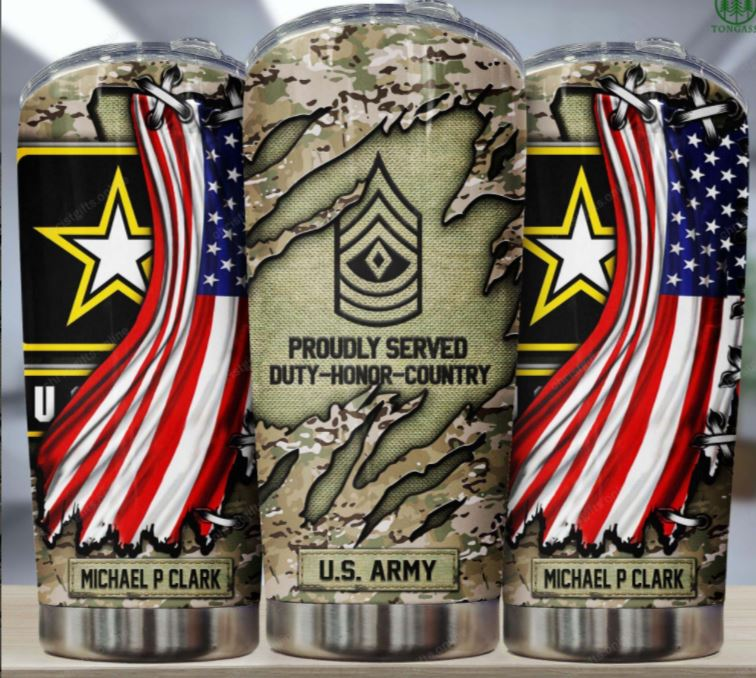 US Army Military Personalized Flag Tumbler
