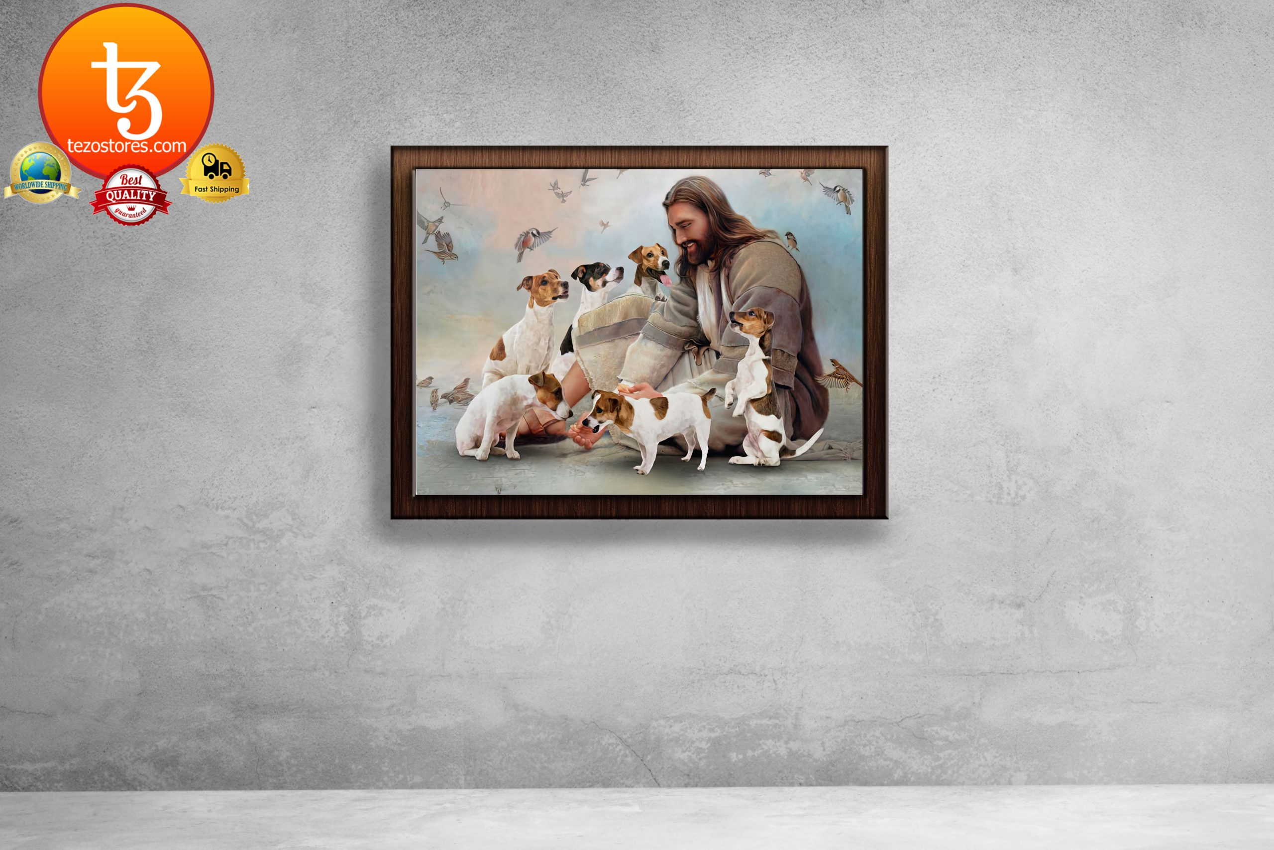 God surrounded by Pug angels Poster